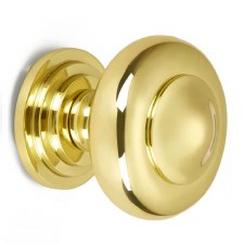 Croft Centre Door Knob 6345 Polished Brass Unlacquered