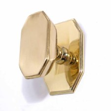 Aston Centre Door Knob Art Deco Polished Brass Unlacquered