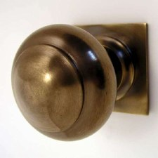 Aston Centre Door Knob Square Rose Antique Brass Unlacquered