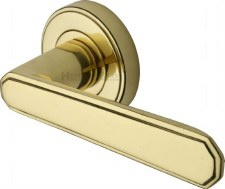 Heritage Century Round Rose Door Handles CEN11924 Polished Brass Lacq