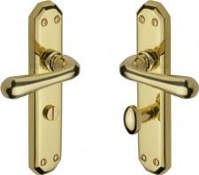 Heritage Charlbury Bathroom Door Handles V7070 Polished Brass Lacquered