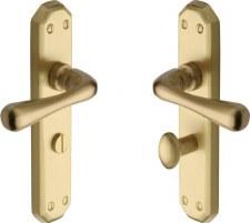 Heritage Charlbury Bathroom Door Handles V7070 Satin Brass Lacquered