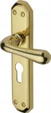 Heritage Charlbury Euro Lock Door Handles V7066 Polished Brass Lacquered