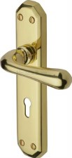 Heritage Charlbury Door Lock Handles V7050 Polished Brass Lacquered