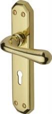 Heritage Charlbury Door Lock Handles V7050 Polished Brass Lacquered