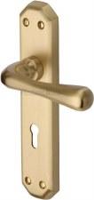 Heritage Charlbury Door Lock Handles V7050 Satin Brass Lacquered