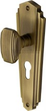 Heritage Charlston Door Knobs Euro Profile CHA1948 Antique Brass
