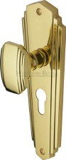 Heritage Charlston Door Knobs Euro Profile CHA1948 Polished Brass
