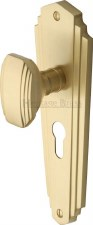 Heritage Charlston Door Knobs Euro Profile CHA1948 Satin Brass