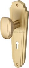 Heritage Charlston Door Knobs Lever Lock CHA1900 Satin Brass