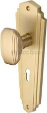 Heritage Charlston Door Knobs Lever Lock CHA1900 Satin Brass