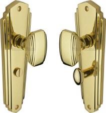 Heritage Charlston Door Knobs Bathroom Set CHA1930 Polished Brass Lacq