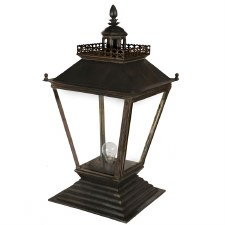 Chateau Medium Pedestal Lantern Antique Brass
