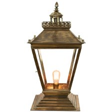 Chateau Medium Pedestal Lantern, Light Antique Brass