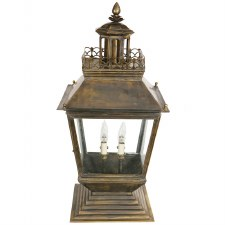 Chateau Large Pedestal Lantern, Light Antique Brass