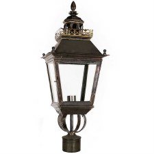 "Chateau Lamp Post Head for 2"" dia. Antique Brass"