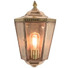 Chelsea Flush Outdoor Wall Light Lantern Polished Brass