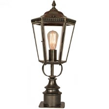 Chelsea Short Pillar Lantern Antique Brass