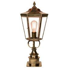 Chelsea Short Pillar Lantern Light Antique Brass