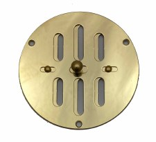 "Hit & Miss Circular Air Vent 4"" Polished Brass Unlacquered"