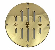 "Hit & Miss Circular Air Vent 5"" Polished Brass Unlacquered"