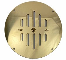 "Hit & Miss Circular Air Vent 7"" Polished Brass Unlacquered"