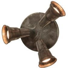 Circular Plate with 3 Spot Lights Antique Brass