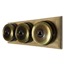 Citadel Dolly Switch on Wooden Base 3 Gang Renovated Brass