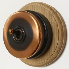 Citadel Dolly Switch on Round Oak Base Renovated Copper