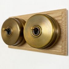 Citadel Dolly Switch on Wooden Base 2 Gang Antique Satin Brass