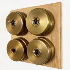 Citadel Dolly Switch on Wooden Base 4 Gang Antique Satin Brass