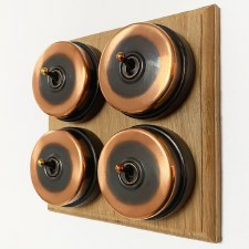 Citadel Dolly Switch on Wooden Base 4 Gang Renovated Copper