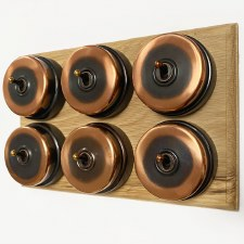 Citadel Dolly Switch on Wooden Base 6 Gang Renovated Copper