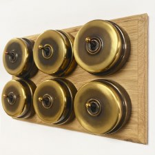 Citadel Dolly Switch on Wooden Base 6 Gang Renovated Brass