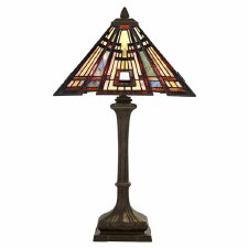 Quoizel Classic Craftsman Tiffany Table Lamp Valiant Bronze