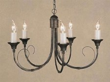 Classica 5 Arm Chandelier Black Gold