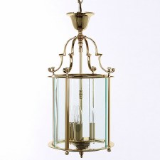 Colchester 3 Light Round Lantern Polished Brass Lacquered
