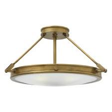 Hinkley Collier Semi Flush Ceiling Light Medium Heritage Brass