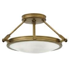 Hinkley Collier Semi Flush Ceiling Light Small Heritage Brass