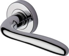 Heritage Columbus Rnd Rose Door Handles COL1762 Polished Chrome
