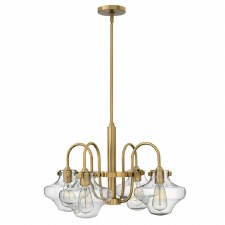 Hinkley Congress 4 Light Clear Glass Chandelier Brushed Caramel