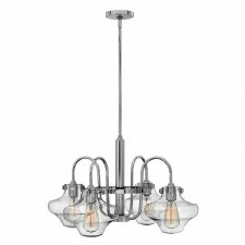 Hinkley Congress 4 Light Clear Glass Chandelier Chrome