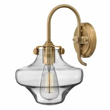 Hinkley Congress Clear Glass Wall Light Brushed Caramel
