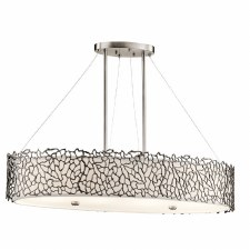 Kichler Silver Coral Oval Island Pendant Light Classic Pewter