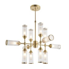 Corscombe 12 Light Ribbed Pendant Satin Brass
