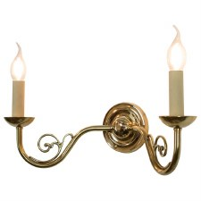 Cottage Twin Wall Light Polished Brass