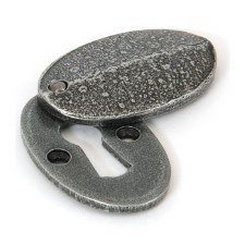 From The Anvil Oval Covered Escutcheon Pewter Patina