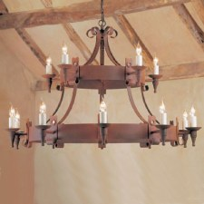 Cromwell 15 Light, 2 Tier Chandelier Aged Iron