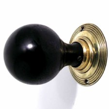 Cromwell Wooden Mortice/Rim Door Knobs Ebonized Wood & Brass