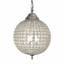 Crystal Globe Chandelier Antique Pewter - Large
